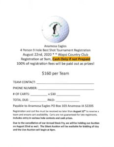 Anamosa Eagles Golf Tournament @ Wapsipinicon Country Club