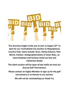 Anamosa Eagles Live & Silent Auction @ Wapsi Country Club | | |